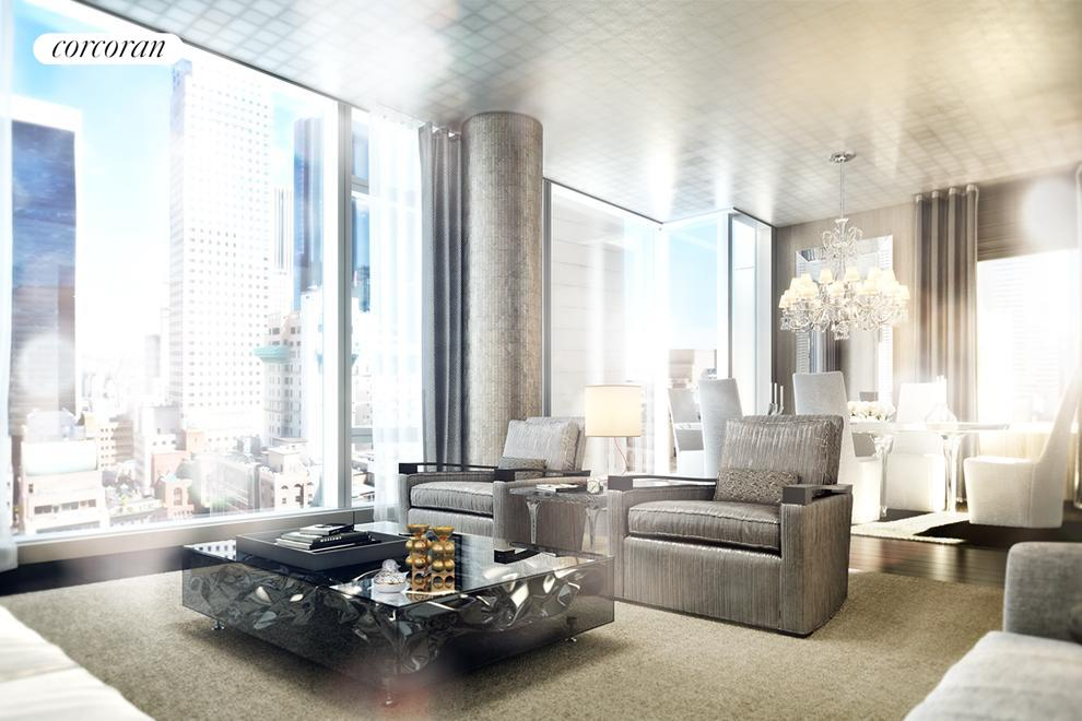 20 West 53rd Street, 40B, Light-filled living with floor-to-ceiling windows