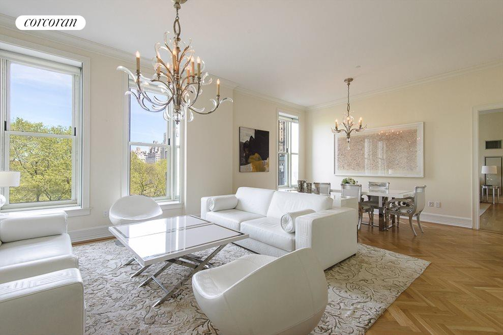 Living and Dining Room with Central Park Views