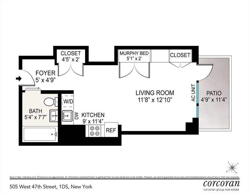New York City Real Estate | View 505 West 47th Street, #1DS | Floorplan