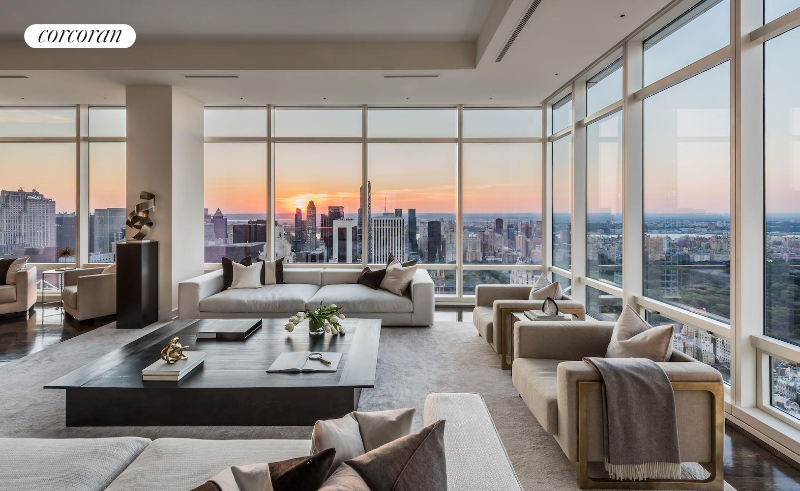 With over 2500 Square Feet of windows offering uninterrupted North, West and South exposures, this Penthouse has one of the more impressive views ever to hit the market.Through 200 linear feet of 12 foot high glass, you have an open vista spanning from the East River to the Hudson and from the Freedom Tower to the George Washington Bridge. at well over 750 feet in the sky, on a clear day you can see beyond the rivers to the Poconos, Catskills, George Washington Bridge and even to the Atlantic Ocean and the Eifel Tower.The North side of this expansive residence has a large loft-like corner living-room with open dining area. This 34ft x 34ft room is the perfect place to unwind while enjoying the spectacular endless views of the entire upper half of Manhattan Island. The dining area leads to an eat-in kitchen with all the expected state-of-the-art appliances. Just like the north faade of the home is reserved for the public areas, the south faade reserved for the master suite. This is the ideal layout to have optimal natural lighting throughout different phases of THE day. When it is time to move from the public to the private quarters or vica versa, you do so by strolling down the central hallway. At 20x 6 this gallery is perfectly proportioned for showcasing art.At 35x19 the jaw-dropping master bedroom is one of the most palatial sleeping quarters anywhere. With separate his and hers bathrooms flanking a dressing room and two distinct walk-in closets, this is a gracious master suite. These four rooms each have wall to wall, floor to ceiling glass; a true standout even amongst its impressive peers. There is no building within six blocks in any direction so there will never be a need to close the curtains. The gallery between the public and the private quarters also offers access to two spacious bedrooms, each with an en-suite bathroom and ample closet. Each of these West facing bedrooms has the size and Park views that would make it a desirable master in any other home