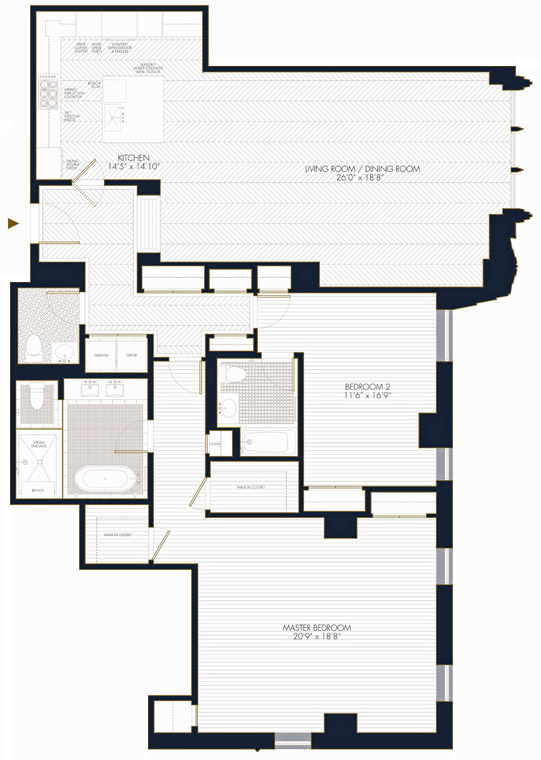 Floor plan of Walker Tower, 212 West 18th St, 16D - Chelsea, New York