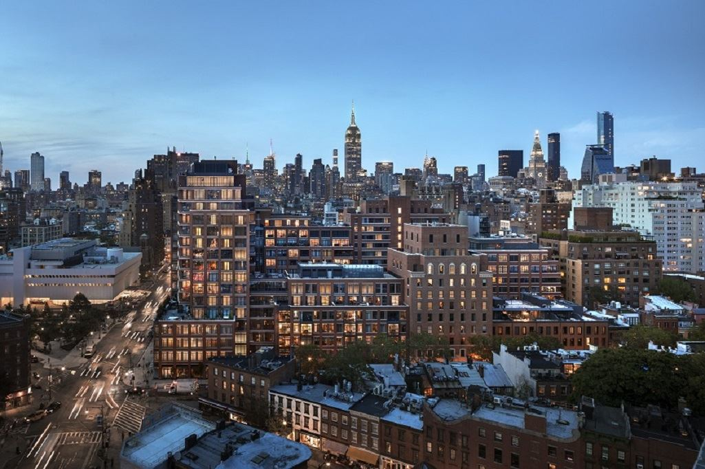 155 West 11th Street, 5K, Living Room with View to Freedom Tower