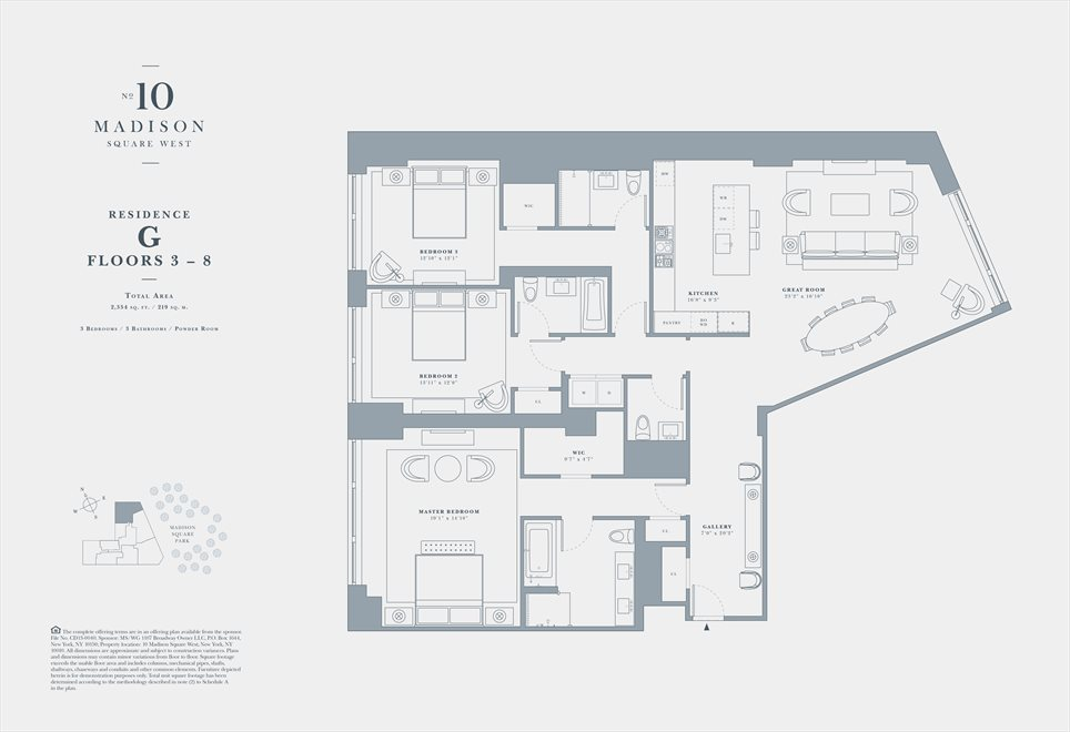 New York City Real Estate | View 10 MADISON SQUARE WEST, #5G | Floorplan