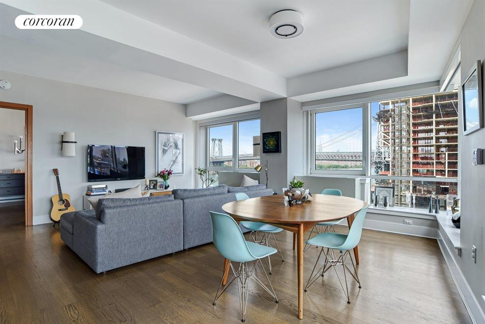 New York City Real Estate | View 440 Kent Avenue, #11D | Dining & Living Area
