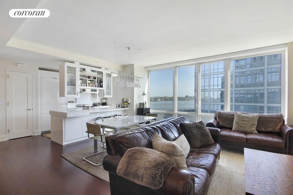 60 Riverside Blvd, 1802, Spacious Living Room with River Views