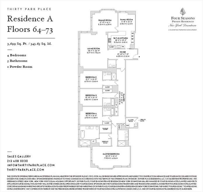 New York City Real Estate | View 30 PARK PLACE, #70A | Floorplan