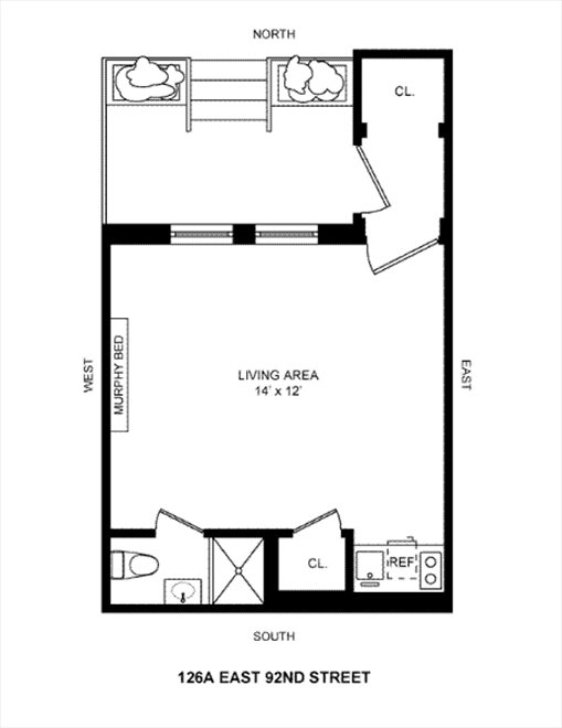 New York City Real Estate | View 126A East 92nd Street, #Studio | Floorplan