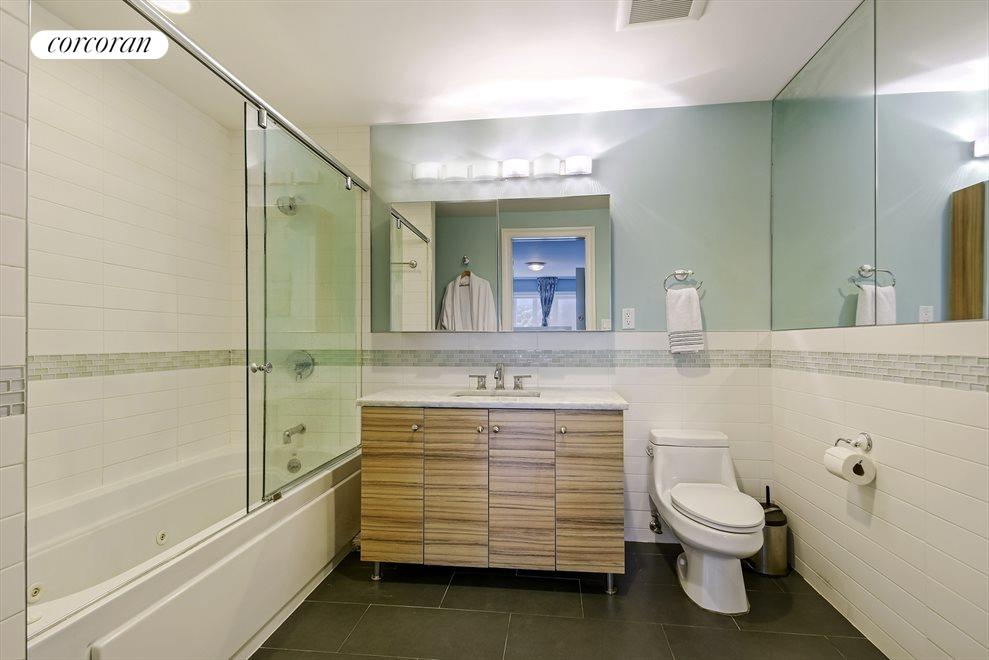 Ample space in master bathroom suite