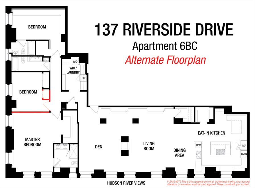 New York City Real Estate | View 137 Riverside Drive, #6BC | Floorplan 2