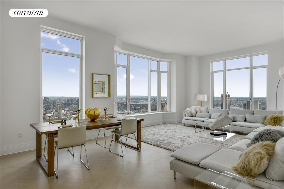 Corner Living/Dining w herringbone hardwood floors