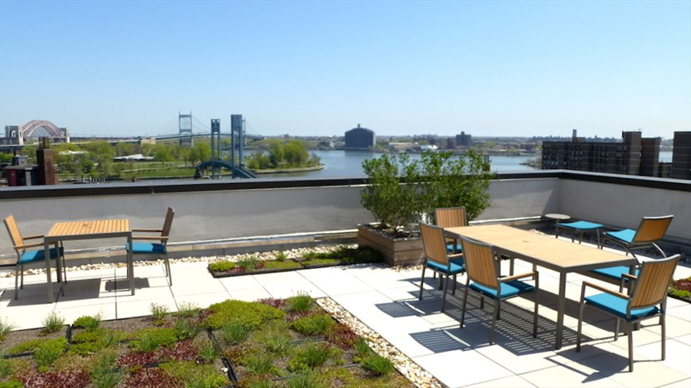 New York City Real Estate | View 353 East 104th Street, #9B | Landscaped Roof Deck with City and River Views