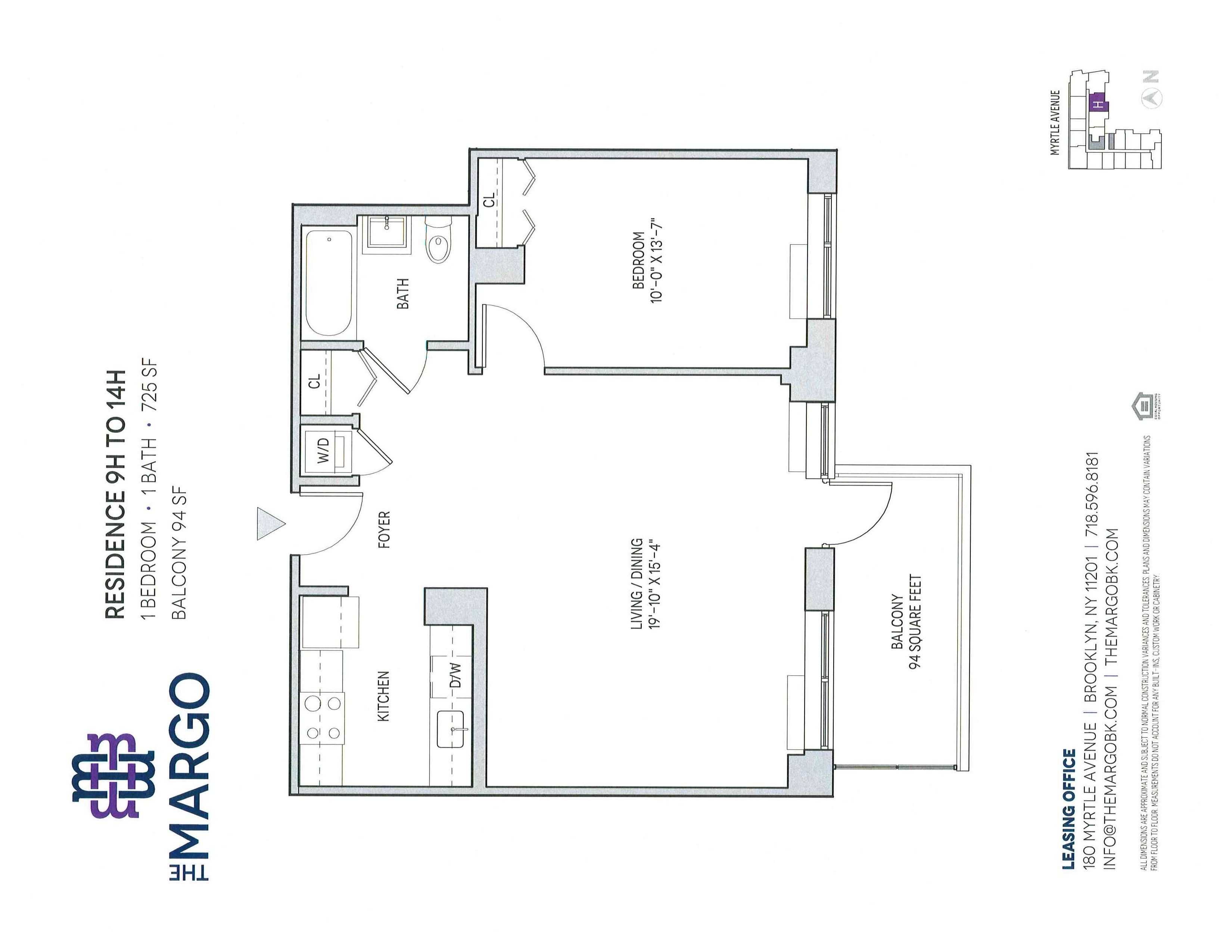 corcoran the margo 180 myrtle avenue fort greene real estate unit 9h 3 245 1 beds 1 baths 725 approx sq ft