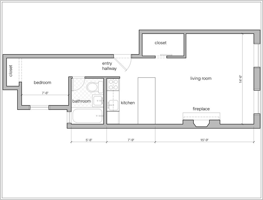 New York City Real Estate | View 305 West 55th Street, #3A | Floorplan