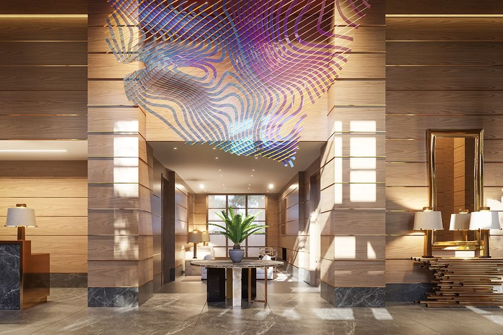 Lobby features original sculpture by Alyson Shotz