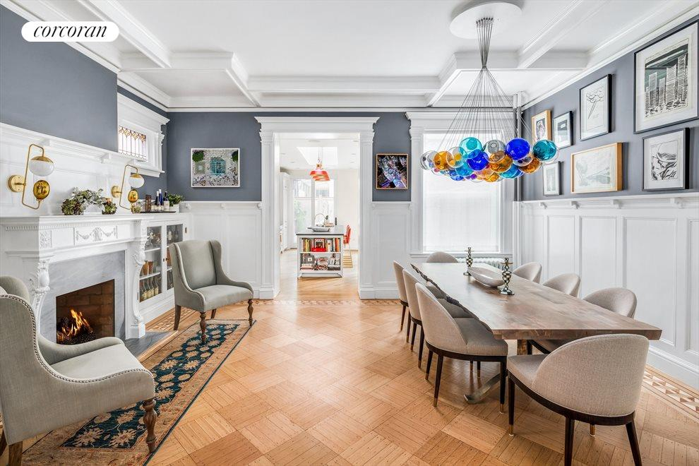 New York City Real Estate | View 586 4th Street | Gas FP, leaded cabinets & coffered ceilings
