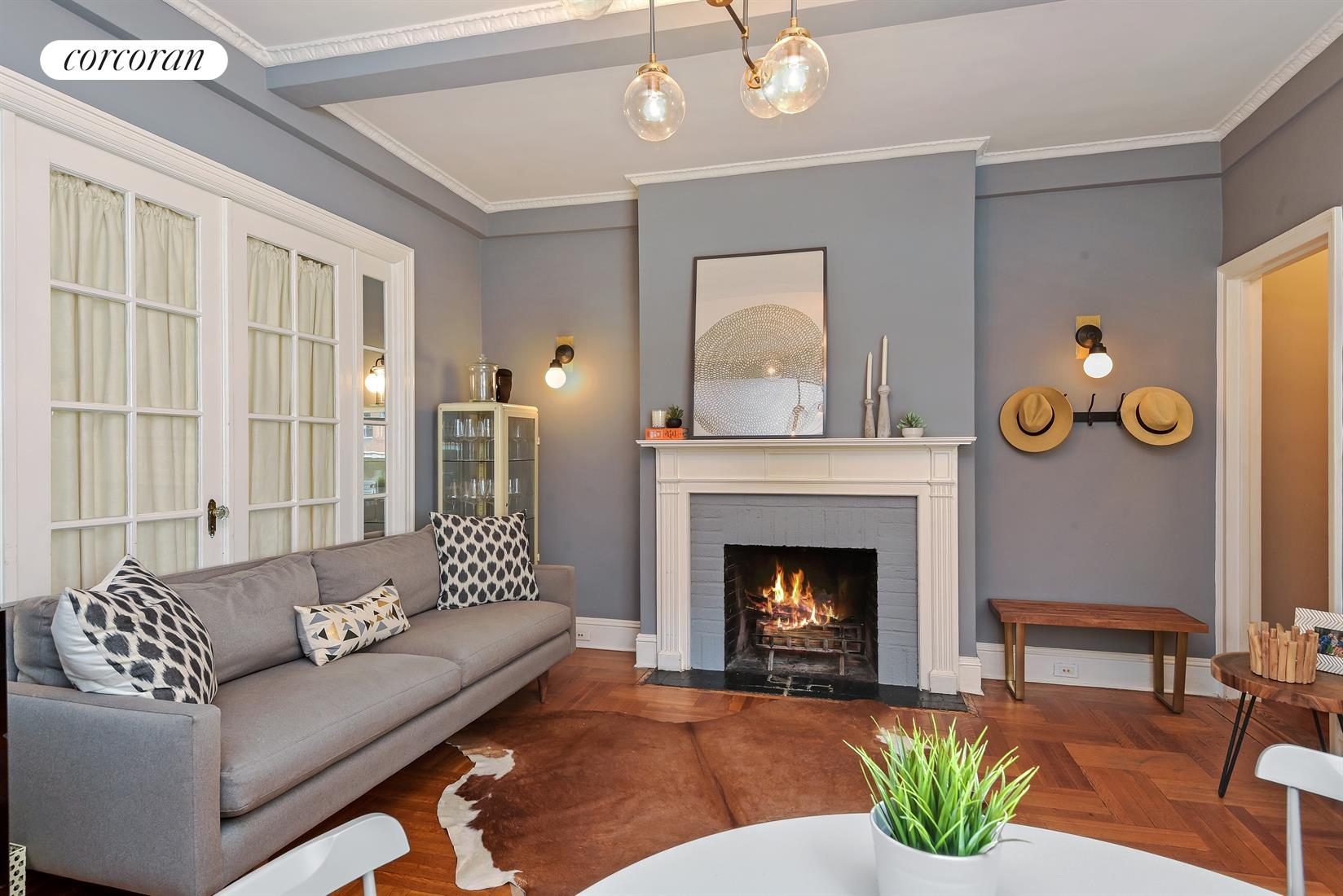 111 East 75th Street, 5B, Living Room with Wood Burning Fireplace