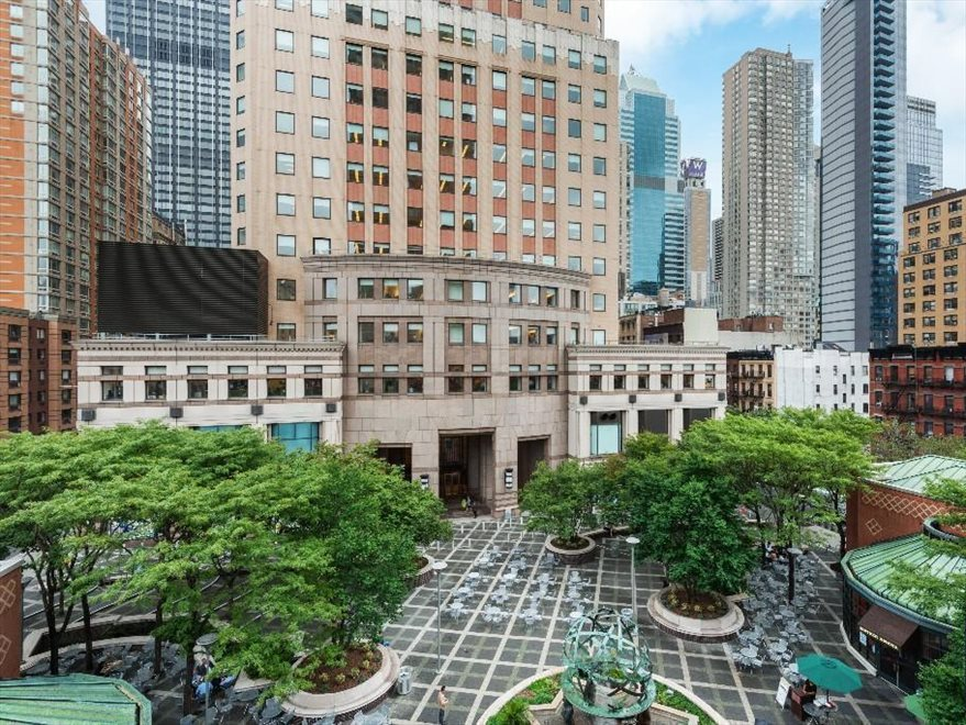 Worldwide Plaza Apartment Building | View 350 West 50th Street | Landscaped public plaza and cafés