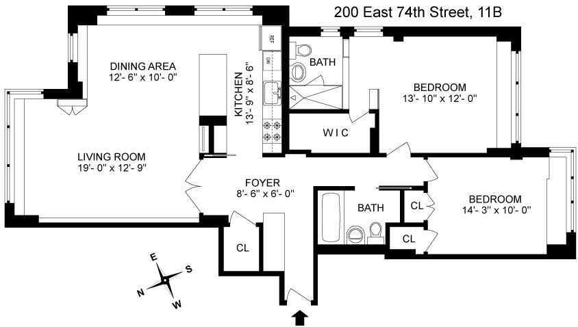 Floor plan of 200 East 74th St, 11B - Upper East Side, New York