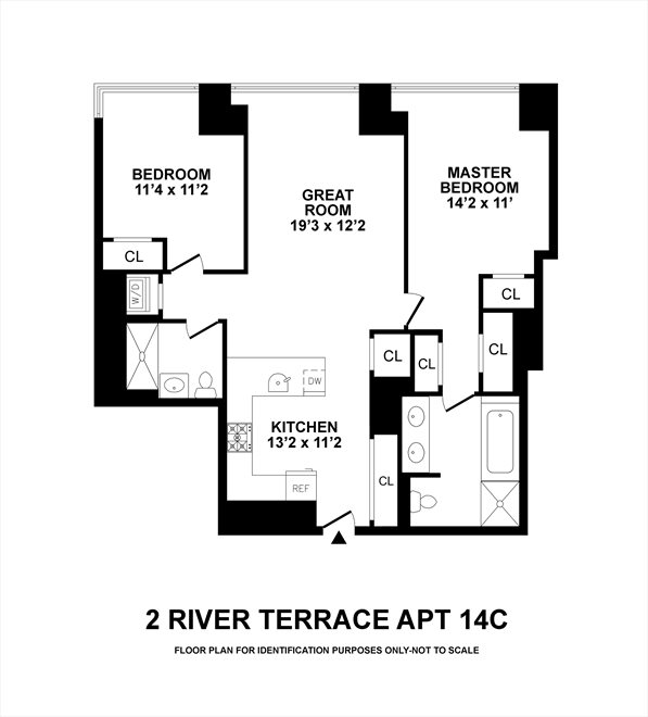 New York City Real Estate | View 2 River Terrace, #14C | Floorplan
