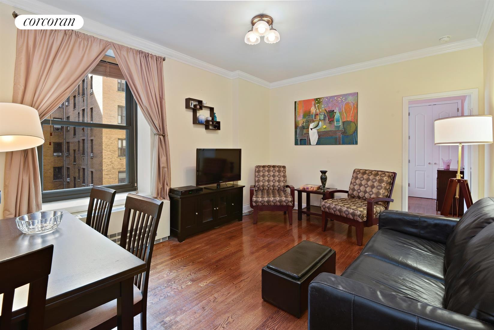 257 Central Park West, 7G, Living Room with Dining Area