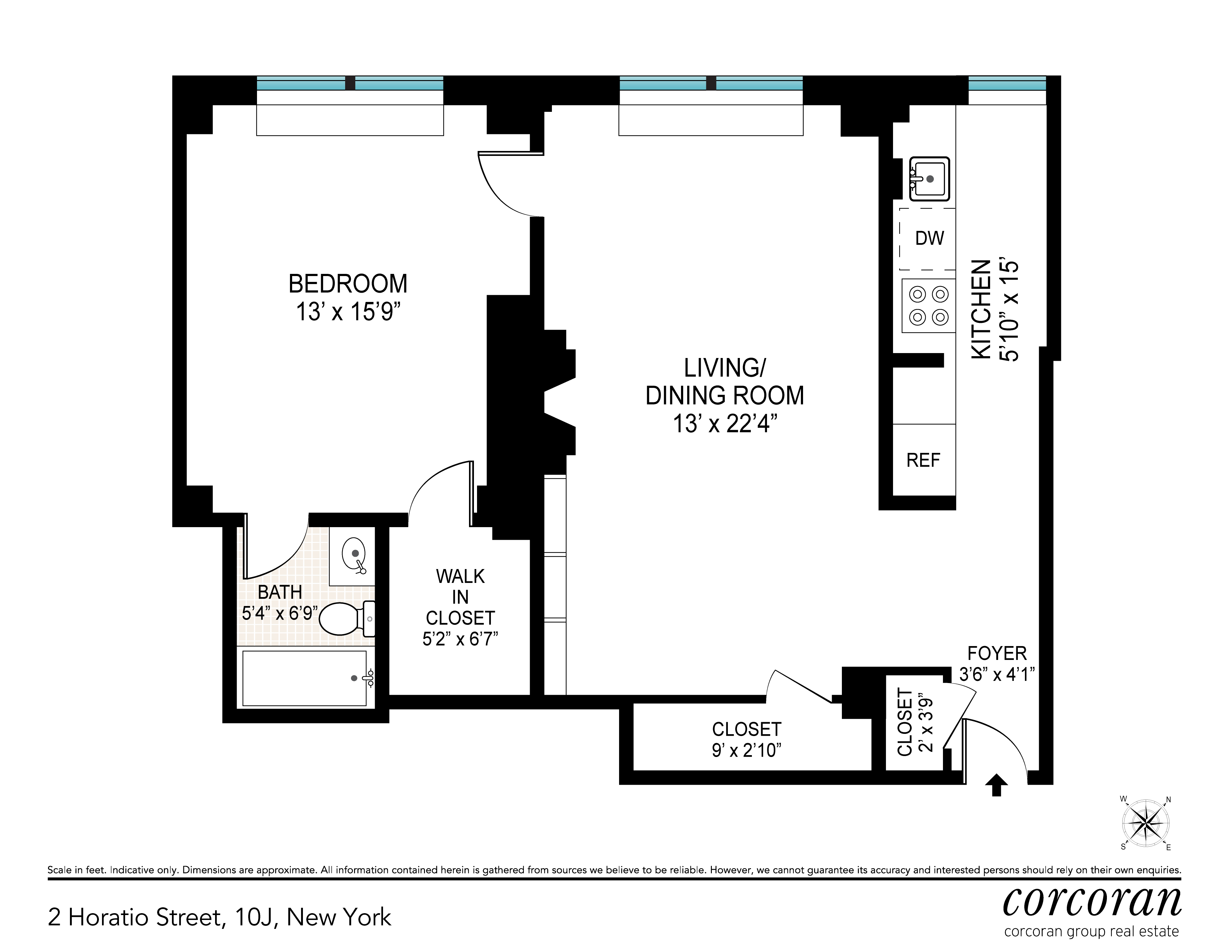 Floor plan of 2 Horatio St, 10J - West Village - Meatpacking District, New York