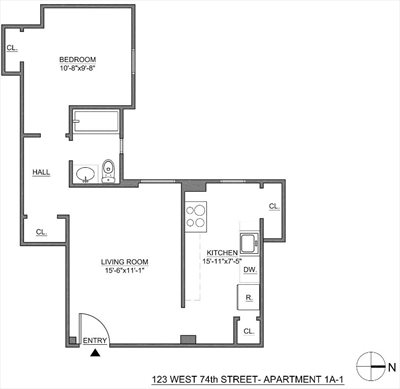 New York City Real Estate | View 123 West 74th Street, #1A-1 | Floorplan