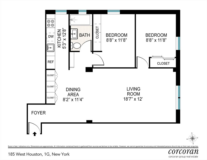 New York City Real Estate | View 185 West Houston Street, #1G | Floorplan 2