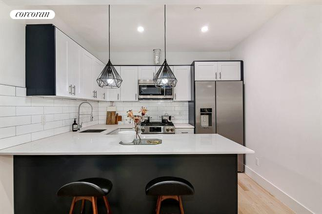 720 Nostrand Avenue, 6, Kitchen with Island & Bar Stool Seating
