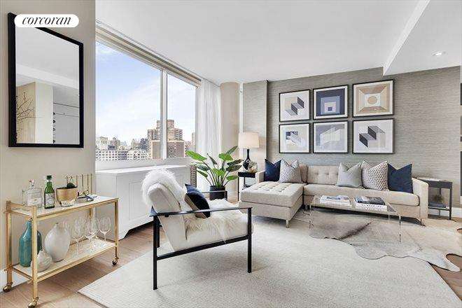 389 East 89th Street, 24A, Living Room with views of Empire State Building