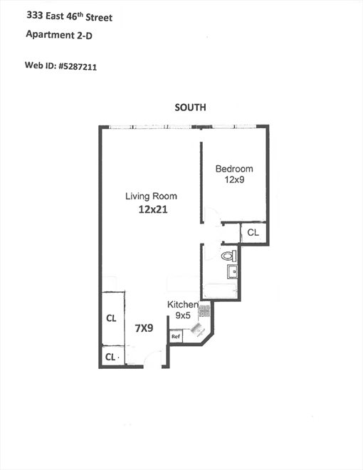 New York City Real Estate | View 333 East 46th Street, #2D | Floorplan