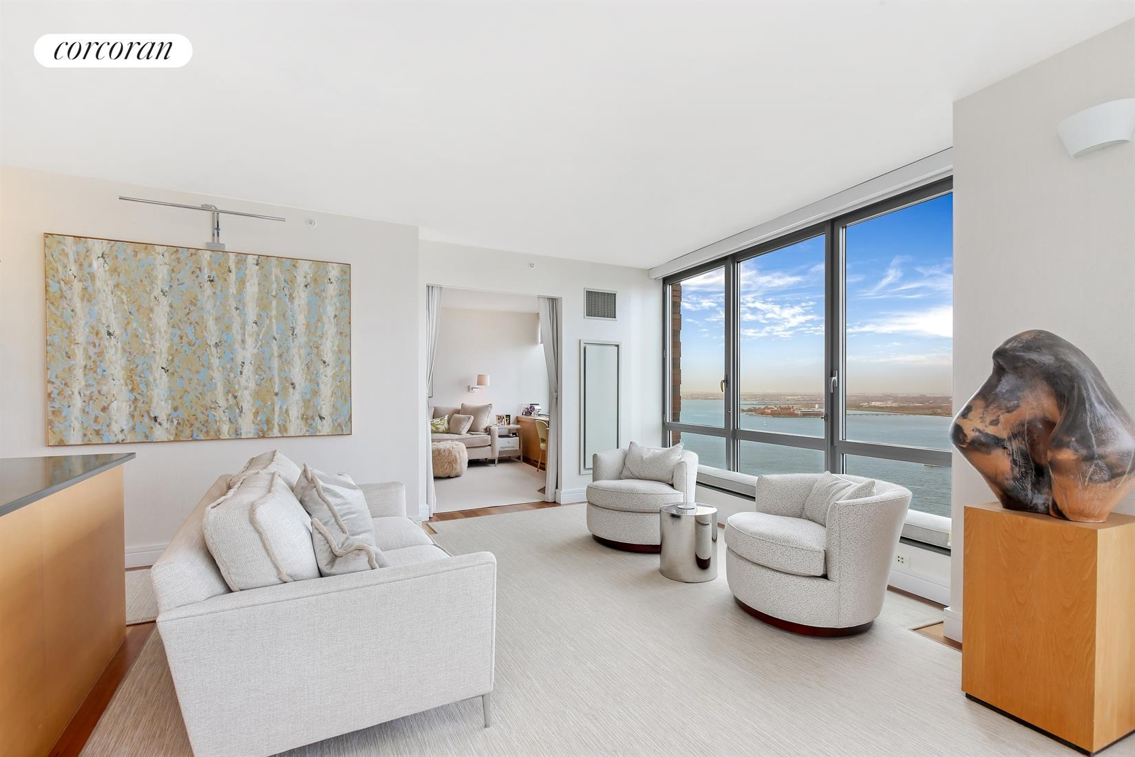 30 West Street, 30A, Living Room with River Views