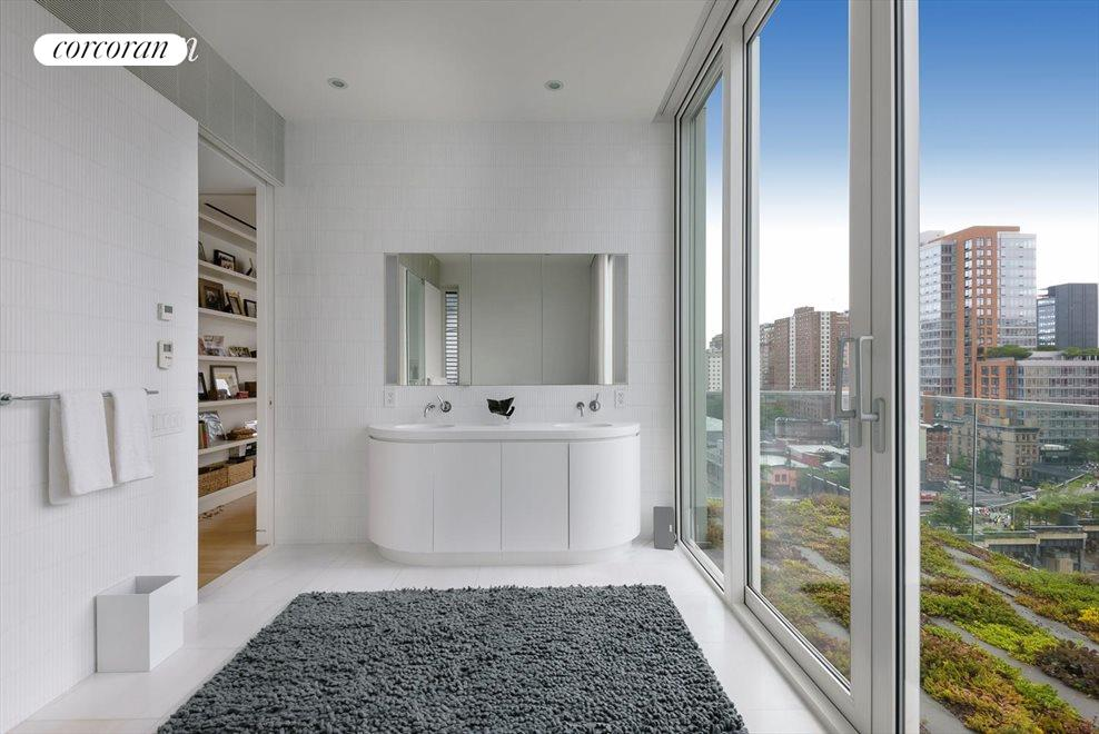 Master Bathroom with views south onto terrace