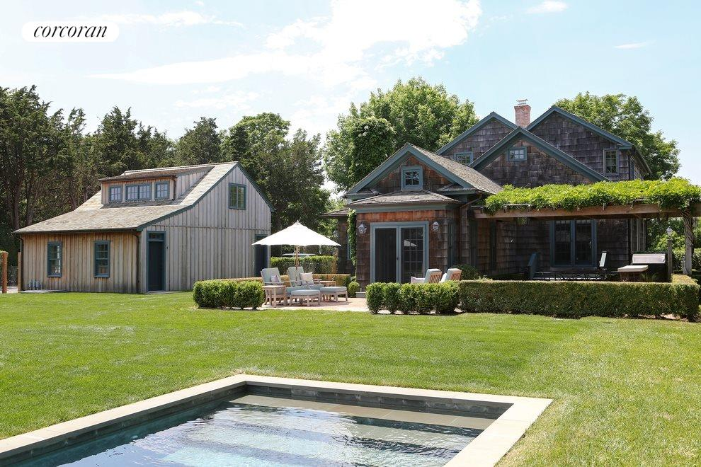 New York City Real Estate | View 137/143 Halsey Lane | View from pool toward Main House (right) and Garage with Carriage house above and a media room below