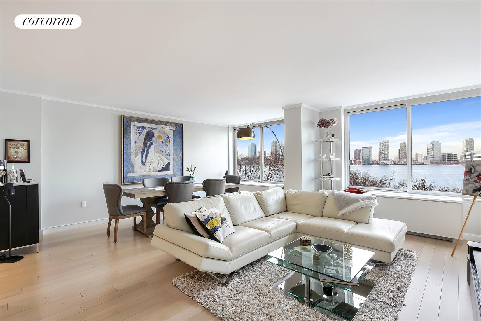 212 WARREN ST, 5G, Living Room/Dining Room with Direct River Views