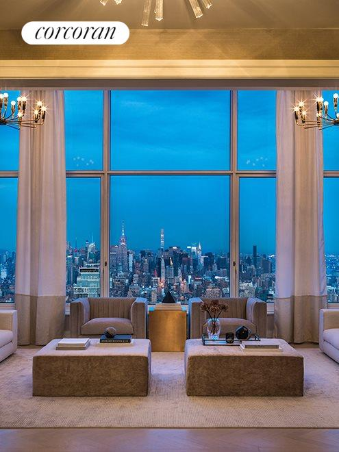 New York City Real Estate | View 30 PARK PLACE, #PH82 | Living Room - Dusk