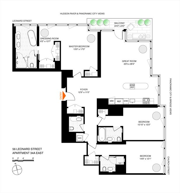 New York City Real Estate | View 56 LEONARD ST, #34A EAST | Floorplan