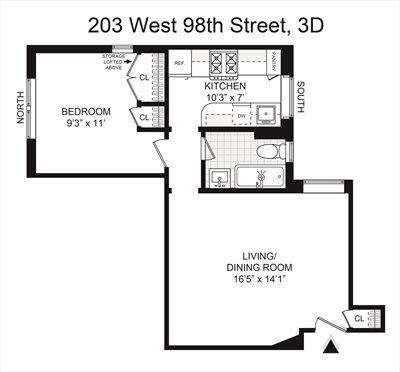 New York City Real Estate | View 203 West 98th Street, #3D | Floorplan