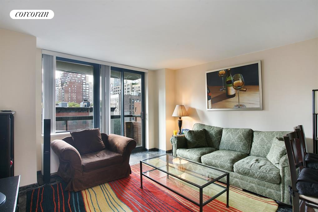 300 East 62nd Street, 501, Living Room with Balcony