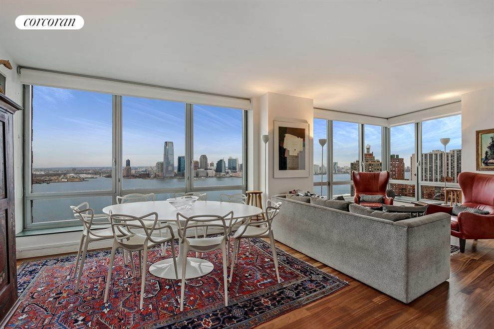 Living Room with Direct Hudson River Views