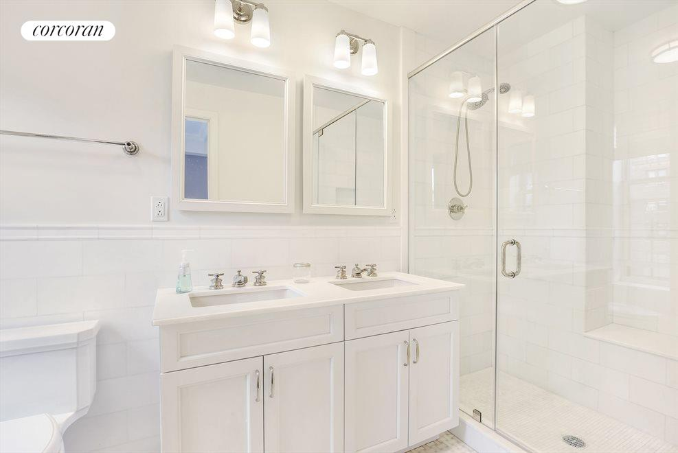 New York City Real Estate | View 215 West 88th Street, #10G | Luxurious windowed master bathroom