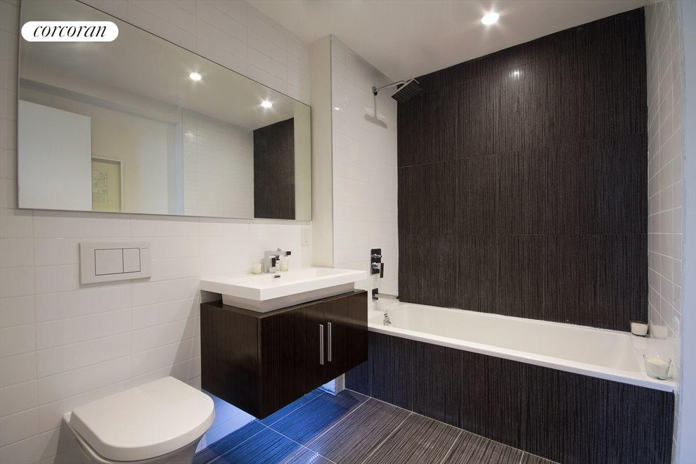Floating sinks with undercarriage lighting