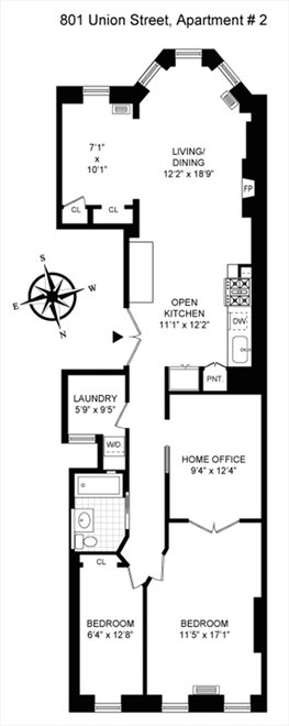 New York City Real Estate | View 801 Union Street, #2 | Floorplan