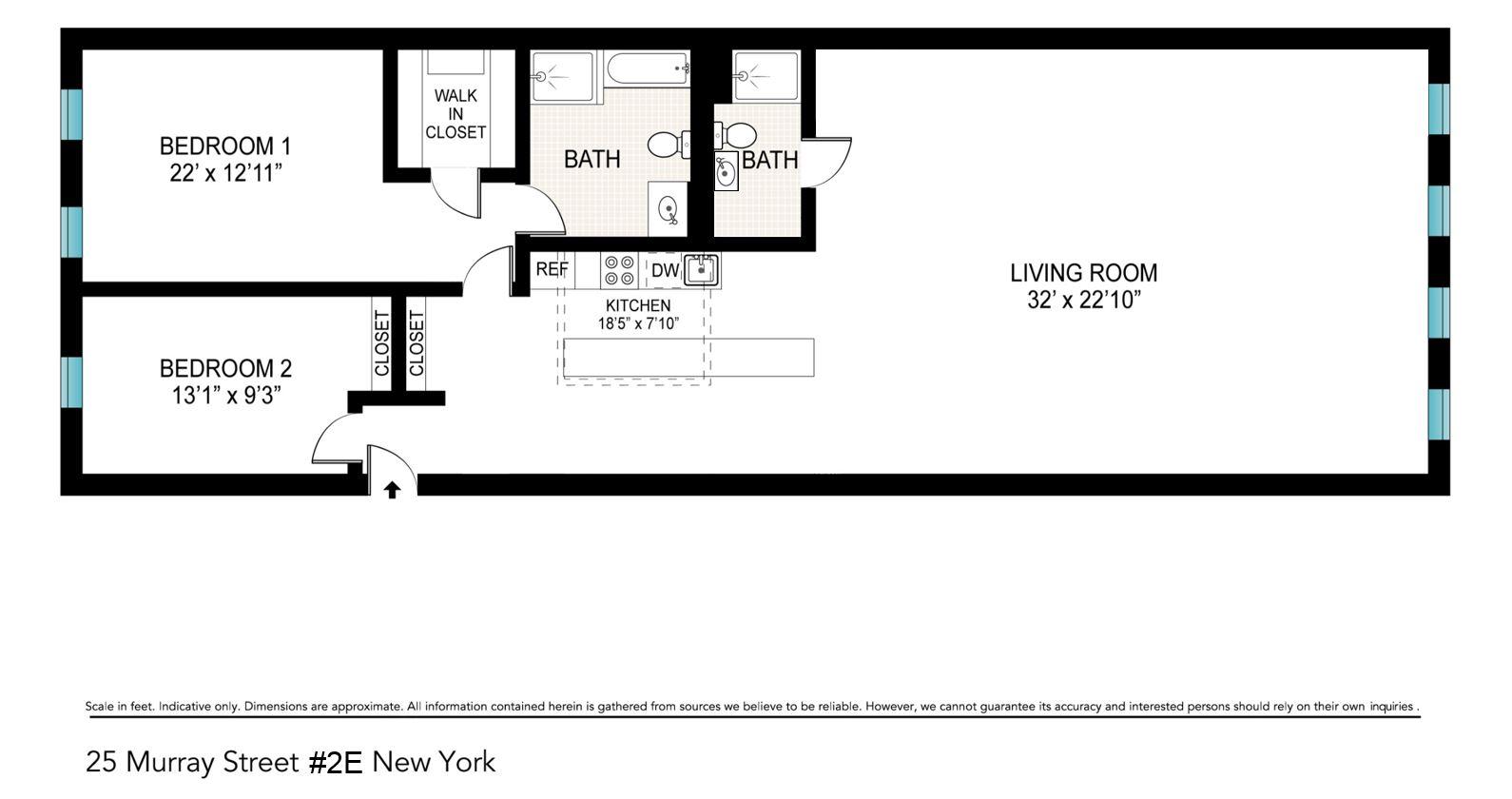 Floor plan of Tribeca Space Condo, 25 Murray St, 2E - TriBeCa, New York