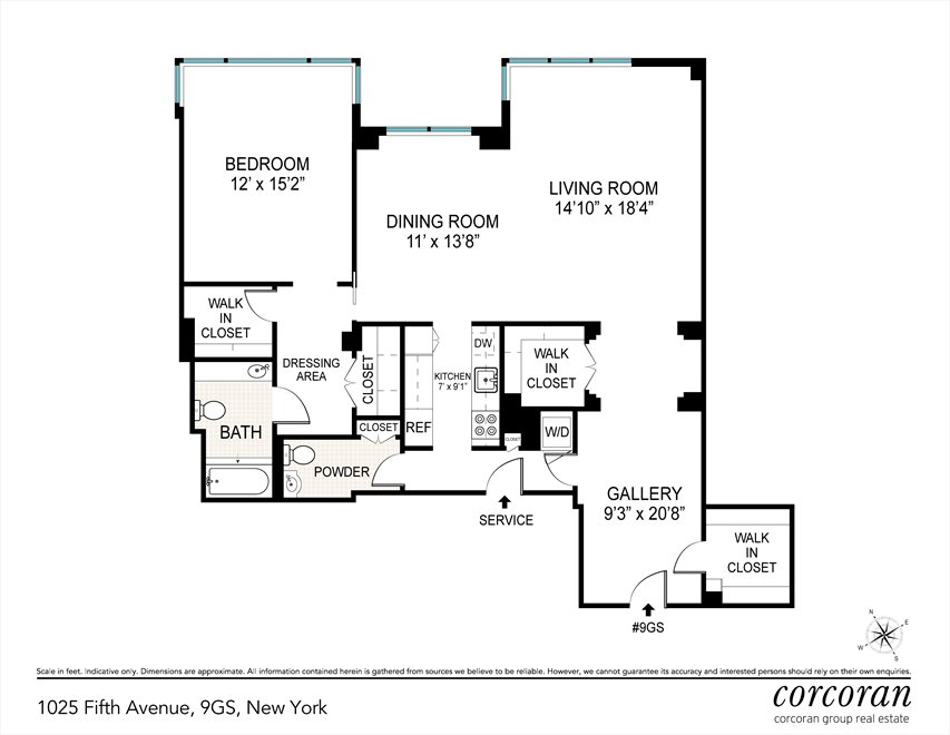New York City Real Estate | View 1025 Fifth Avenue, #9GS | Floorplan