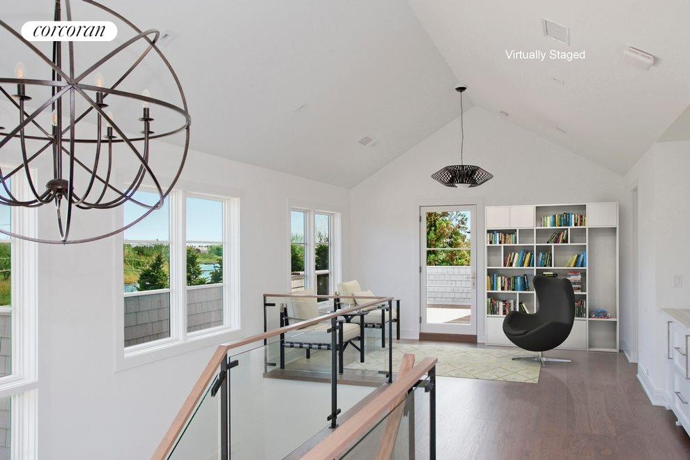 Virtual staging of seating area by upper deck