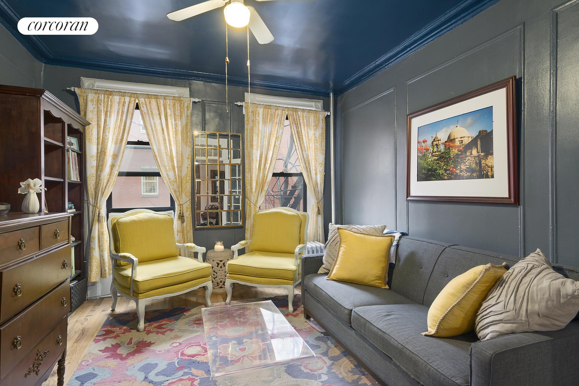 212 East 88th Street, 4C, South-Facing Living Room with French Doors