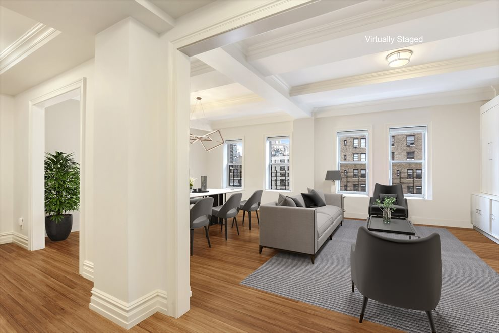 New York City Real Estate | View 215 West 88th Street, #10G | Foyer leads to dramatic double living room