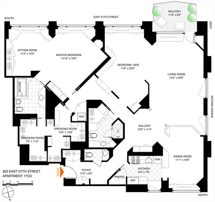 New York City Real Estate | View 303 East 57th Street, #17CD | Floorplan