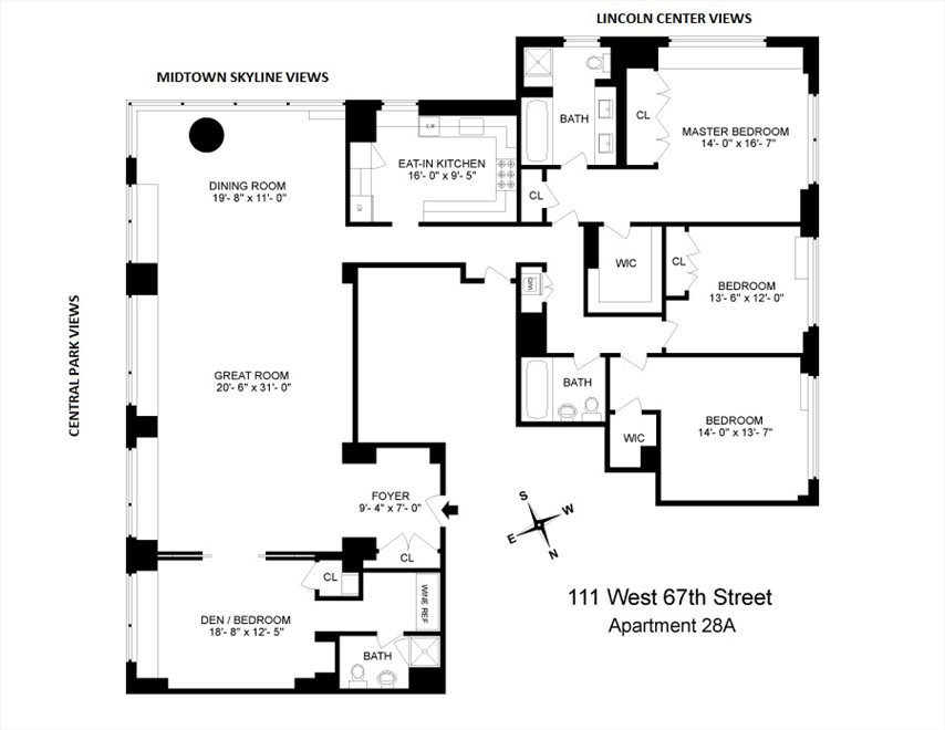 New York City Real Estate | View 111 West 67th Street, #28A | Floorplan