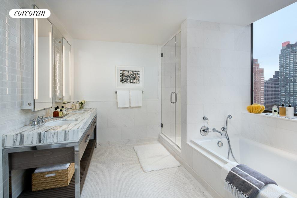 New York City Real Estate | View 389 East 89th Street, #28A | Master bath w/ custom double vanity